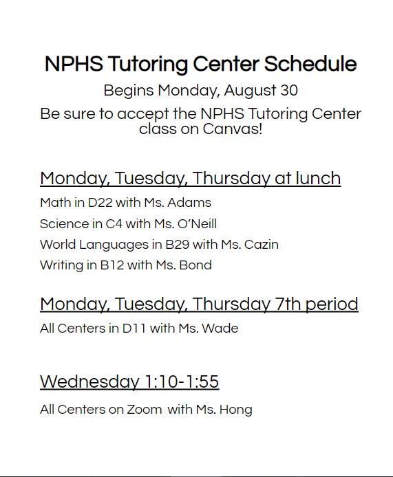 Tutoring Center Information
